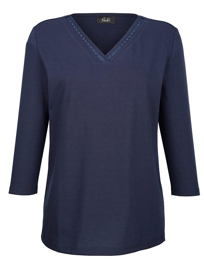 Paola Shirt mit Strasssteinen, Marineblau
