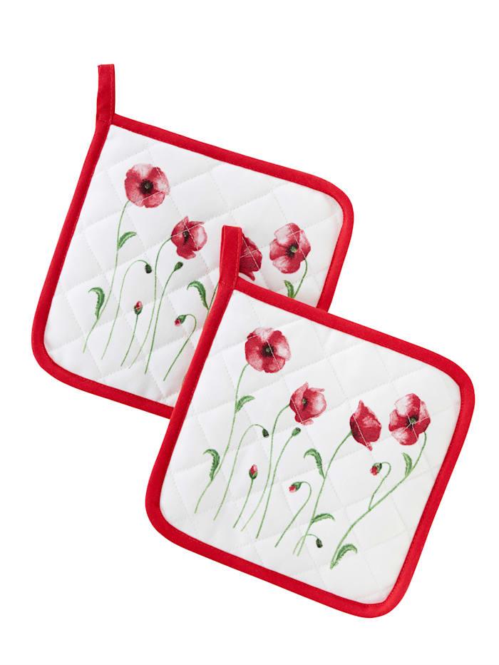 Kracht Topflappen 'Mohnblumen' im 2er-Pack, Rot