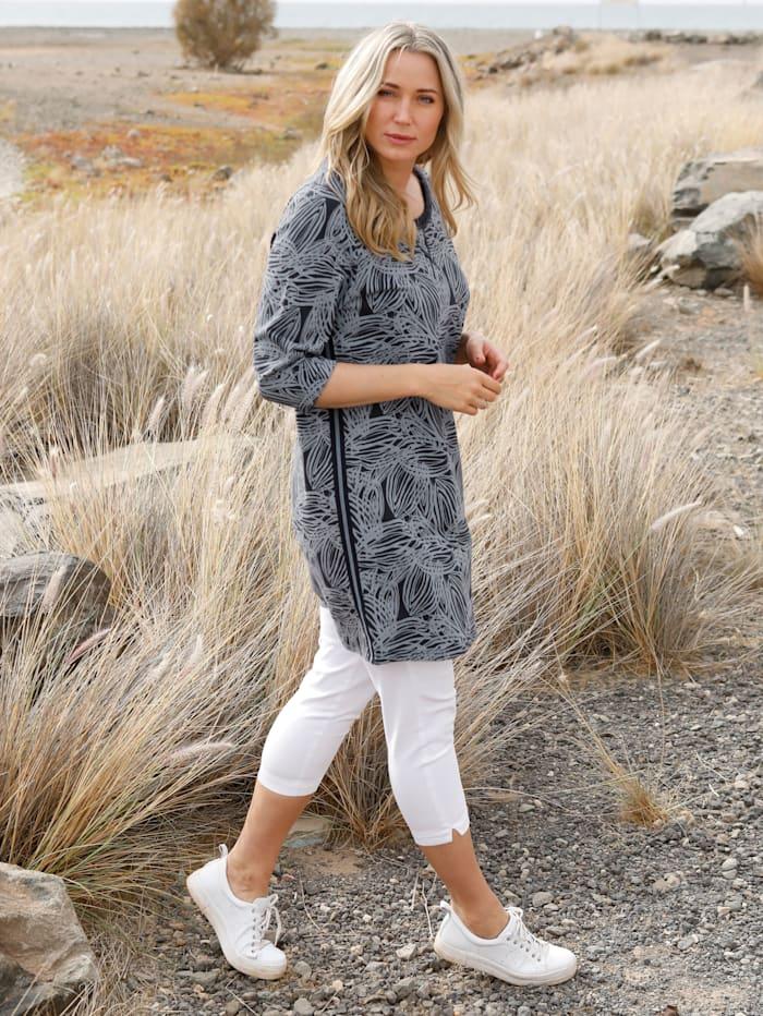 MIAMODA Longsweatshirt mit floralem Muster, Marineblau/Grau