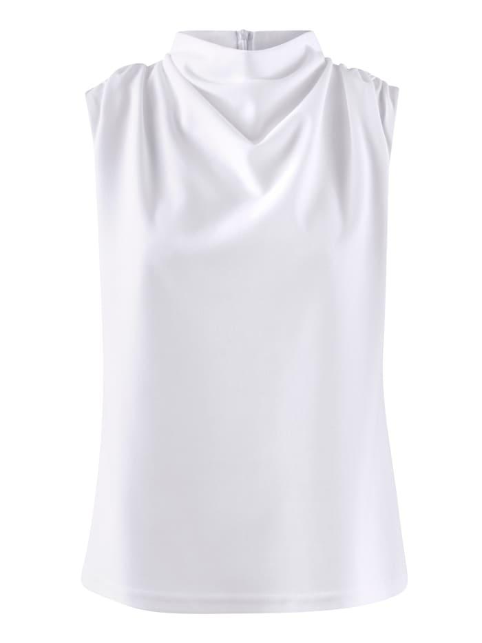 Alba Moda Top mit Wasserfallausschnitt, Weiß