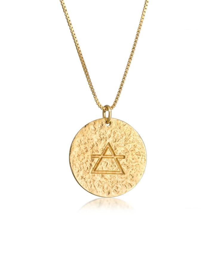 Elli Halskette Luft Element Symbol Coin Vintage Look 925 Silber, Gold