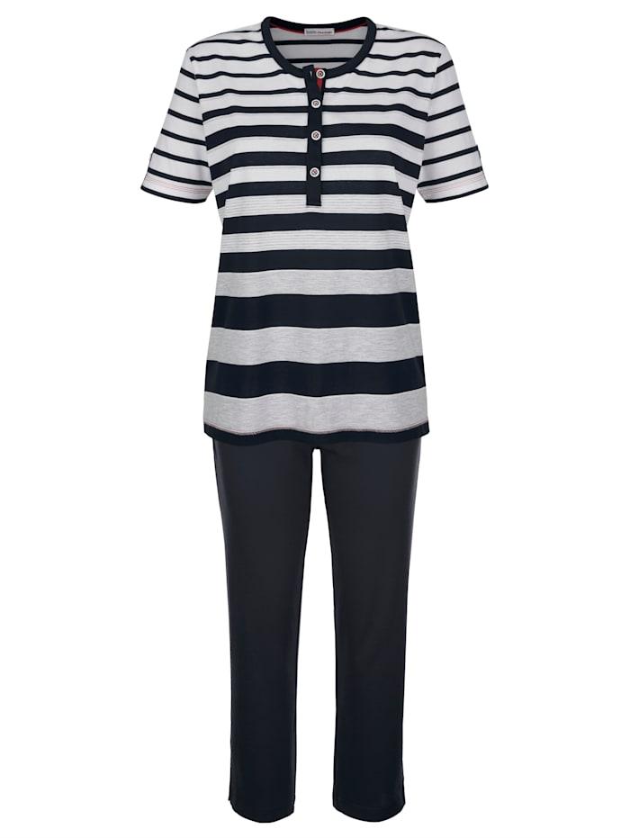 Hajo Pyjama met modieuze strepen, Marine/Grijs/Wit