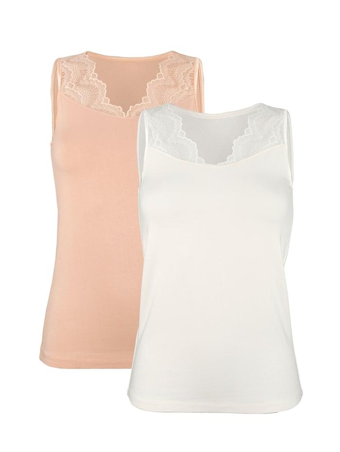 Harmony Blazershirts met kanten inzet aan de V-hals, Beige/Apricot