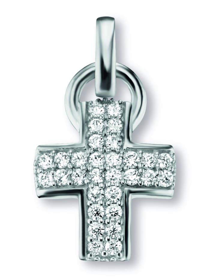 One Element Damen Schmuck Kreuz Anhänger aus 925 Silber Zirkonia, silber