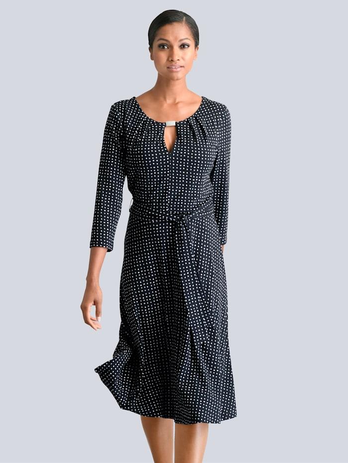 Alba Moda Kleid mit dekorativer Schnalle am Ausschnitt, Schwarz/Weiß