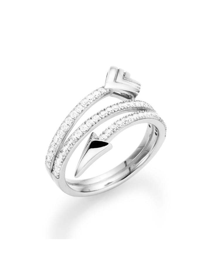 Smart Jewel Ring stylisch in Pfeiloptik geschwungen, Zirkonia Steine, Silber 925, Weiss