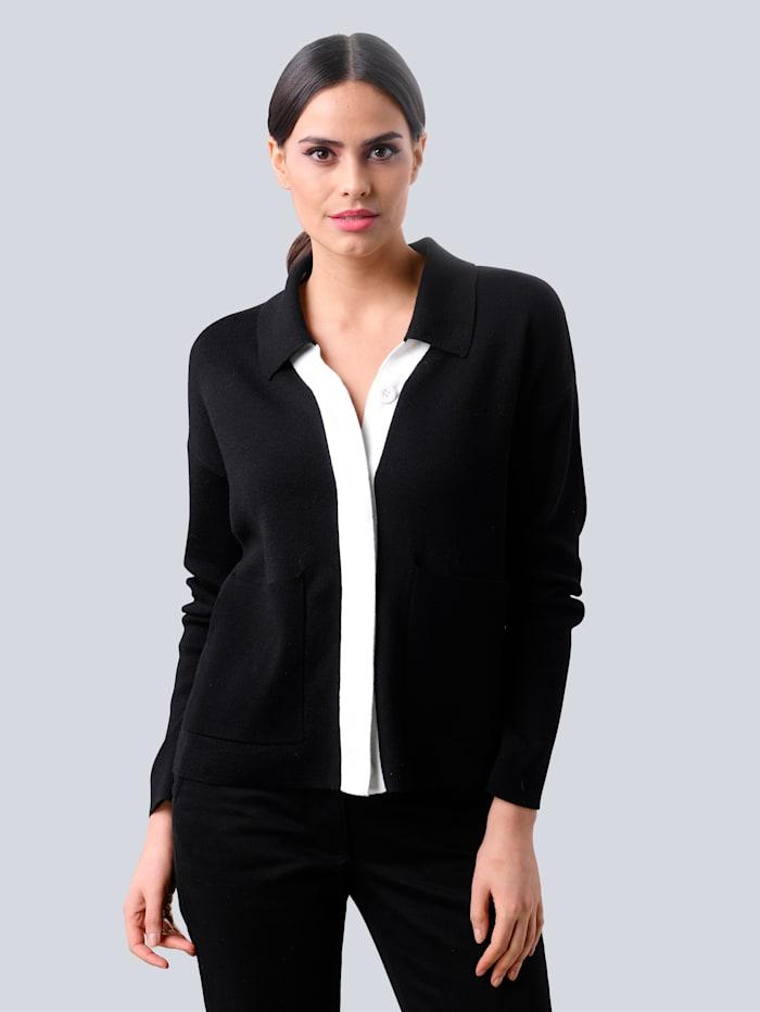 Alba Moda Sveter s kontrastným lemovaním, Čierna/Prírodná biela
