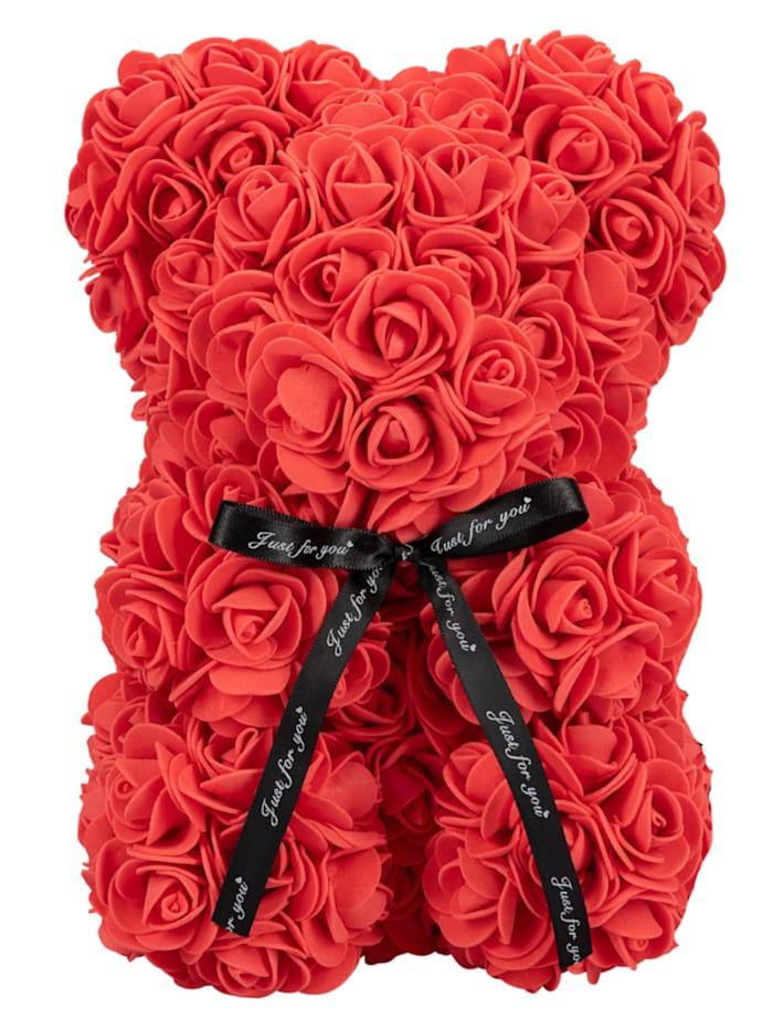 Mia Milano Rosengeschenkbox Teddybär aus Rosen, rot