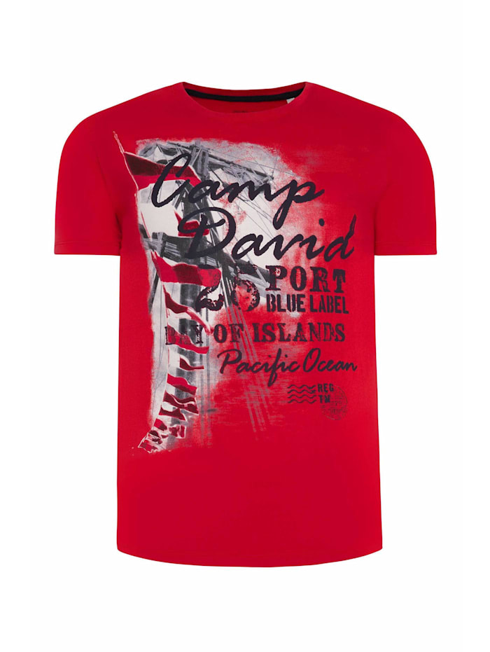 Camp David T-Shirt mit maritimen Photoprint, speed red