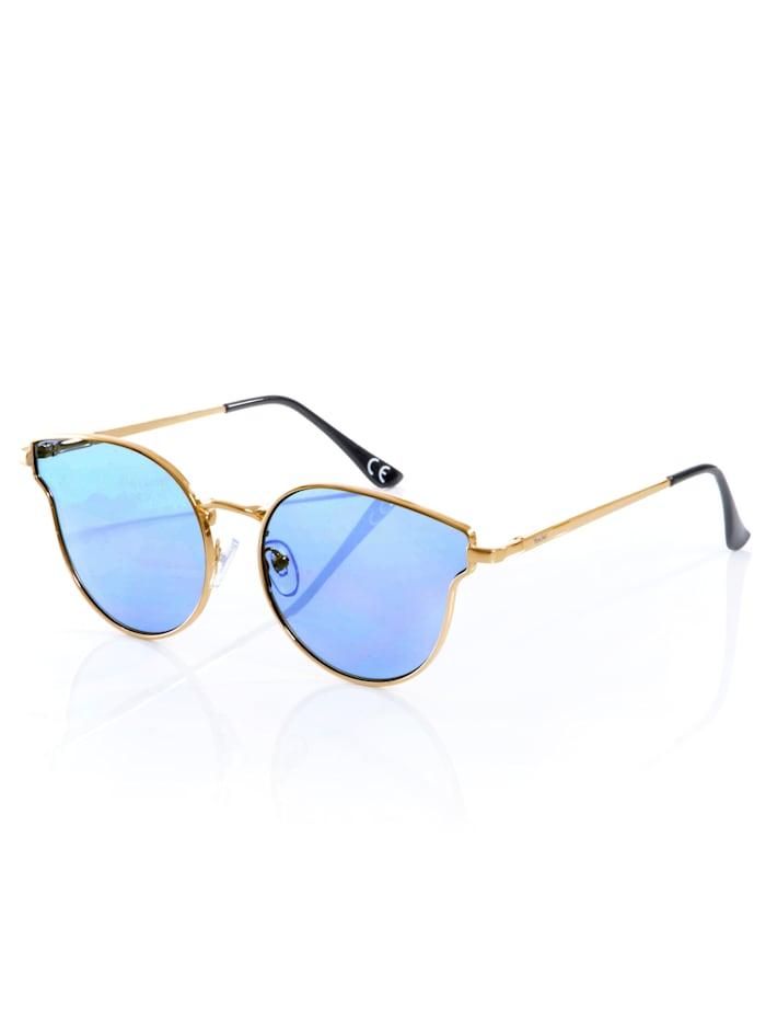 Alba Moda Lunettes de soleil Style cat eye, Gris argenté/bleu