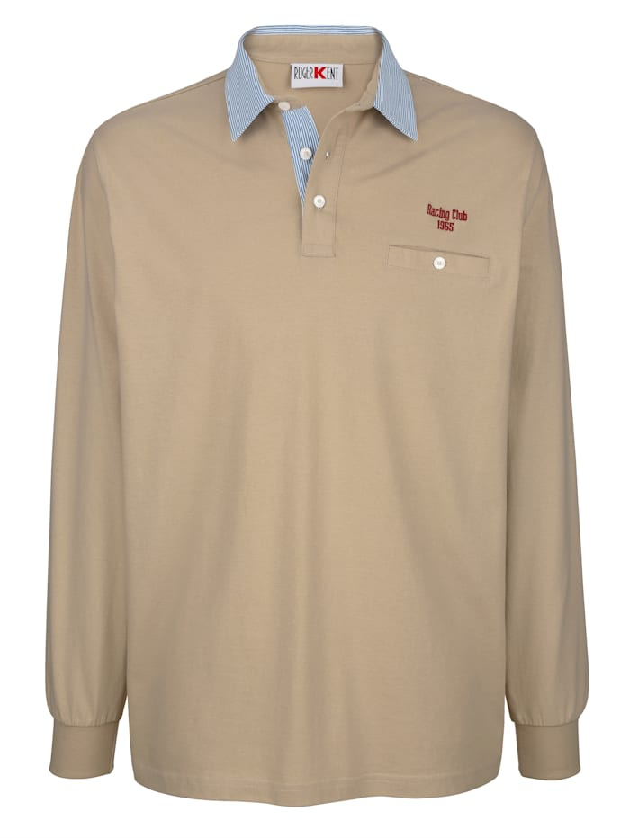 Roger Kent Poloshirt mit gestreiftem Webkragen, Sand