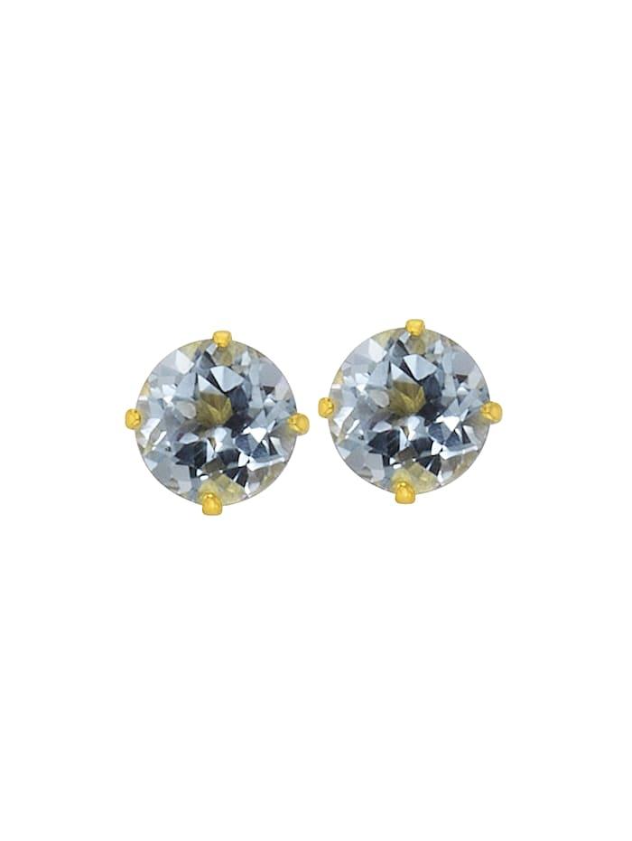 Ohrstecker 333/- Gold Blautopas beh. blau 0,5cm Glänzend 333/- Gold