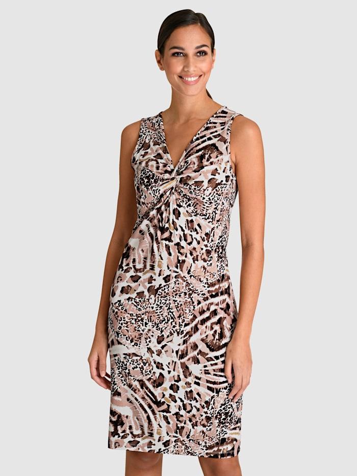 Alba Moda Kleid mit femininem Knotendetail vorne, Braun/Beige/Weiß