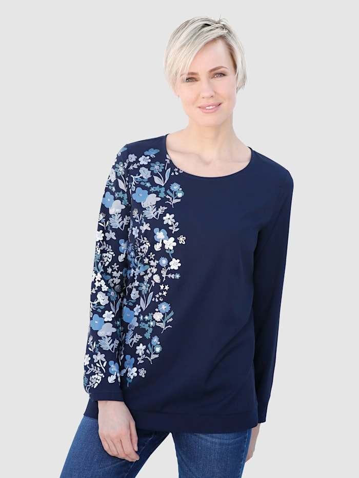 Bluse mit floralem Kontrastdruck
