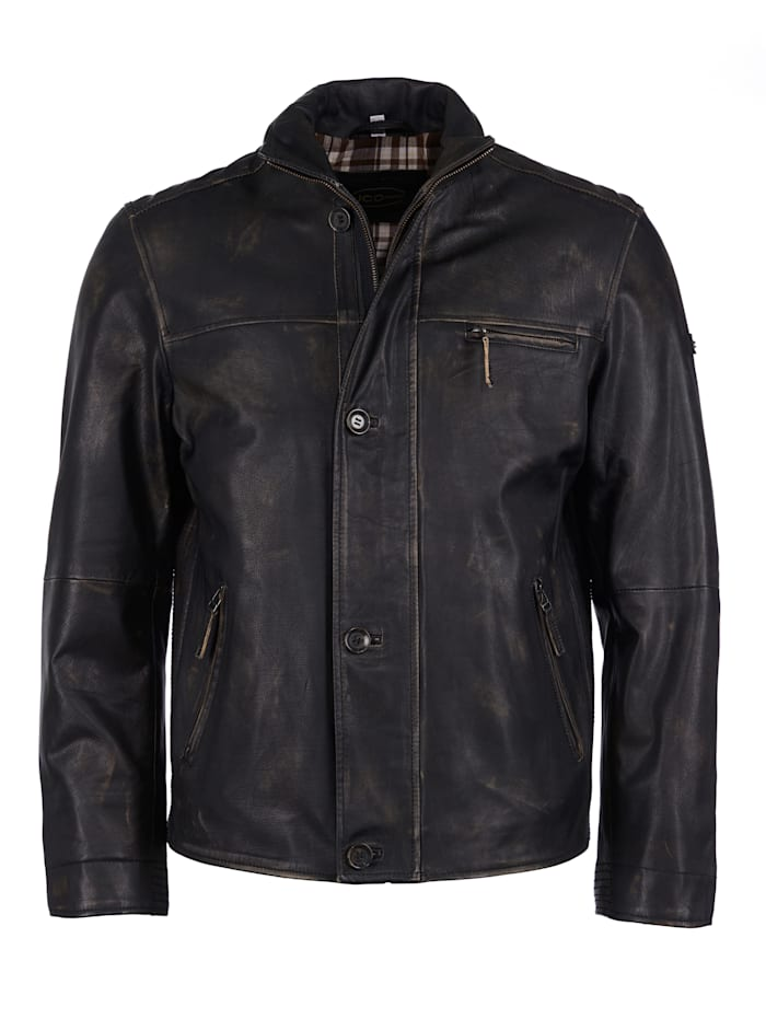 JCC Lederjacke im Used Look, black