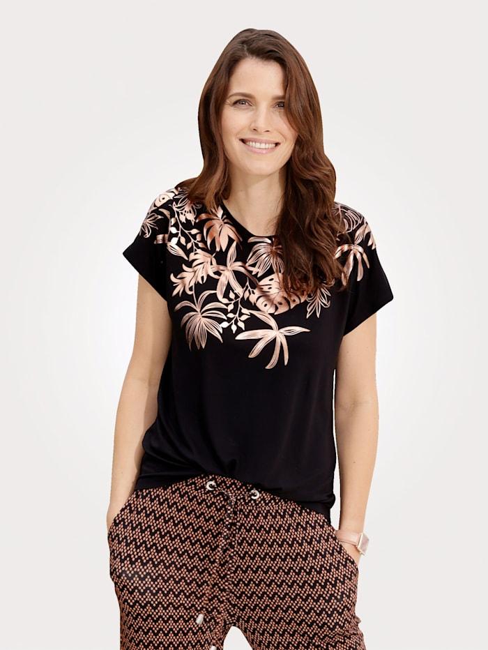 MONA Top with a feminine foil print, Black/Copper