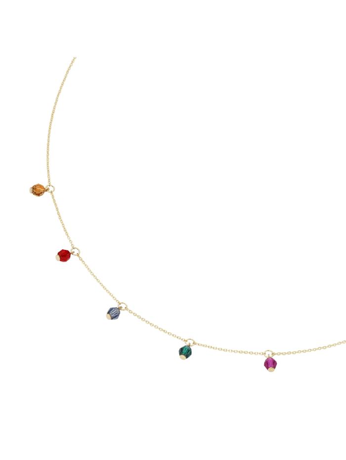 Luigi Merano Collier mit farbigen Swarovski-Kugeln, Gold 375, Gold