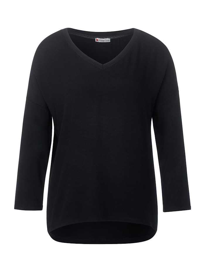 Street One Materialmix-Shirt in Uni, Black