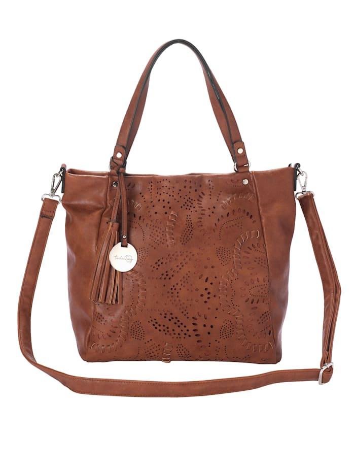 Taschenherz Väska med blommönstrade perforeringar, Konjak
