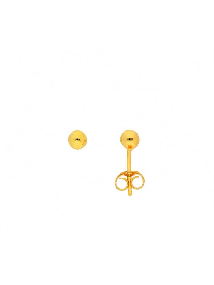 1001 Diamonds Damen Silberschmuck 925 Silber Ohrringe / Ohrstecker Ø 4 mm, vergoldet