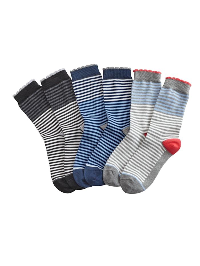 Blue Moon Naisten sukat, Harmaa/Sininen/Musta