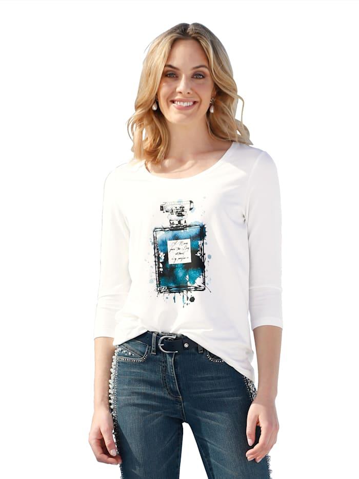 AMY VERMONT Shirt met print en strassteentjes voor, Offwhite