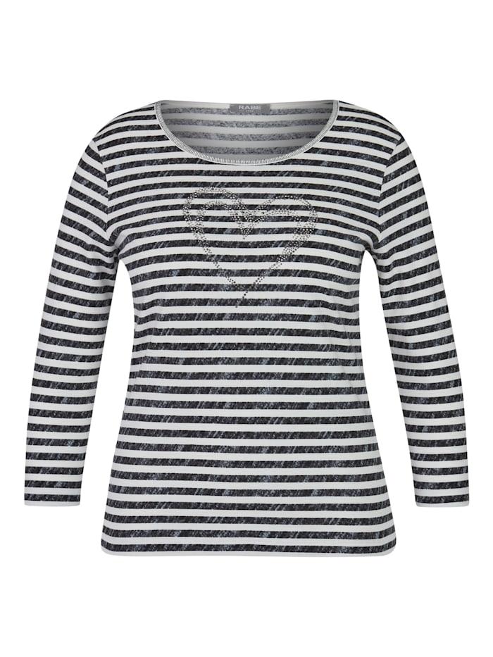 Rabe Shirt mit Allover-Ringeln und glitzerndem Front-Print, SCHWARZ