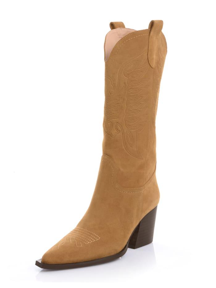 Alba Moda Stiefel aus Rindsveloursleder, Cognac