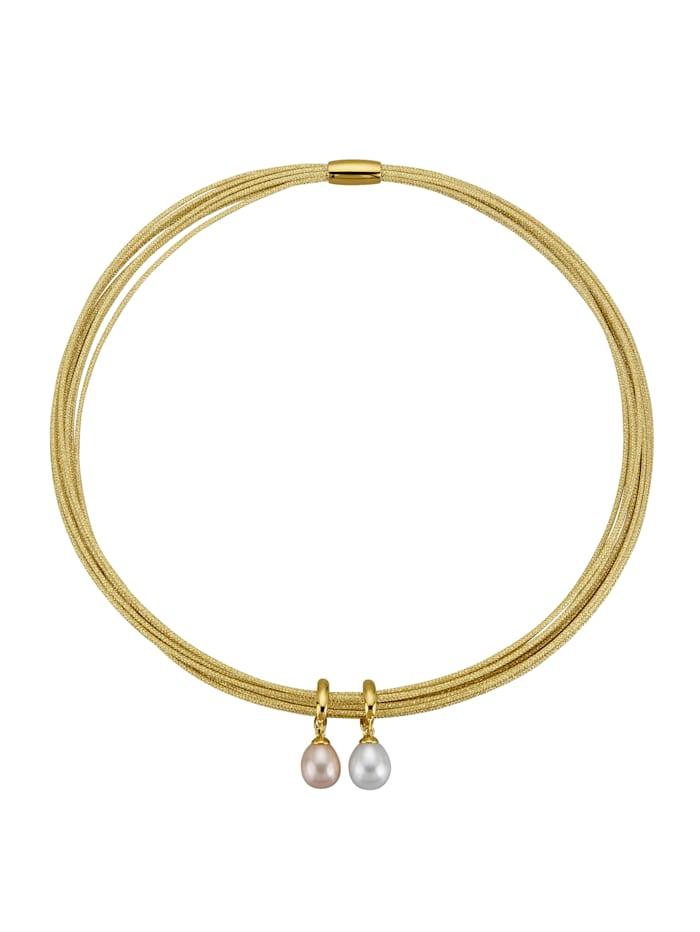 Parure 3pièces avec perles de culture d'eau douce, Coloris or jaune