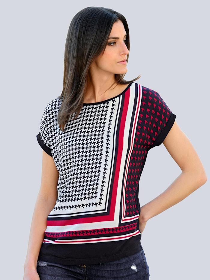 Alba Moda Shirt mit exklusivem Dessin von Alba Moda, Marineblau/Rot/Weiß