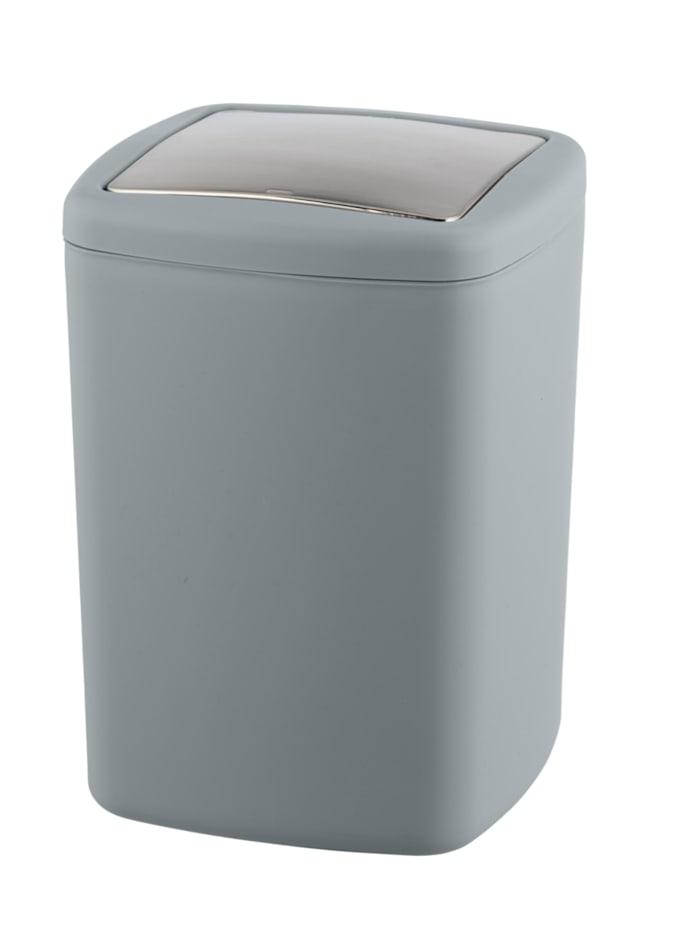 Wenko Schwingdeckeleimer Barcelona L Grau, Spezialkunststoff, absolut bruchsicher, 8,5 Liter, Grau