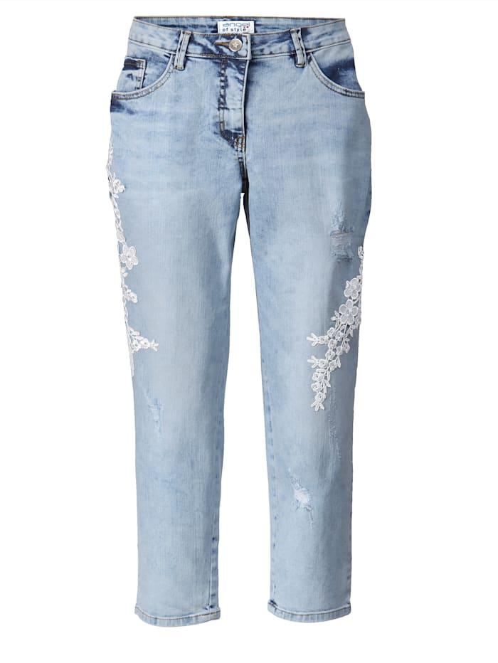 Slim Fit Jeans mit Stickerei knöchellang