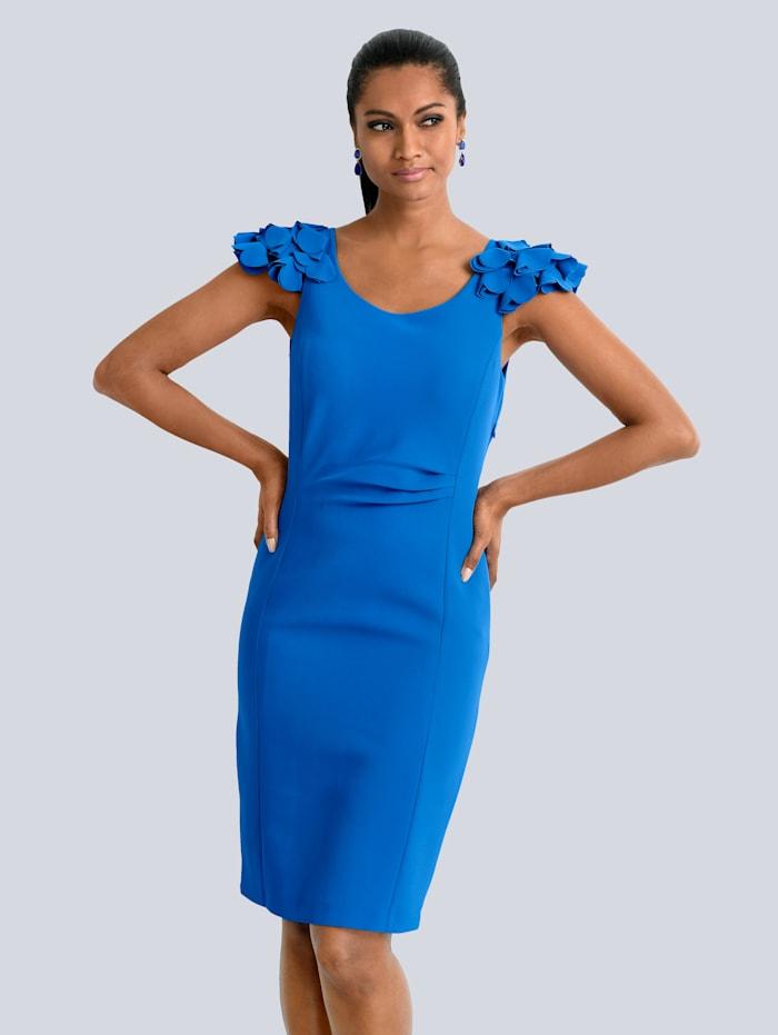 Alba Moda Kleid mit femininen Rüschen, Blau