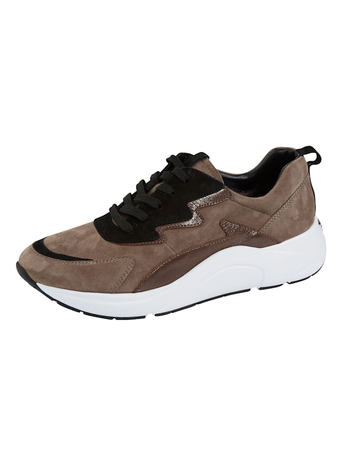 Caprice Sneaker in tollem Ledermix, Taupe