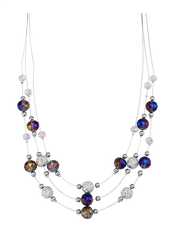 Collier mit Glaskugeln, Silberfarben