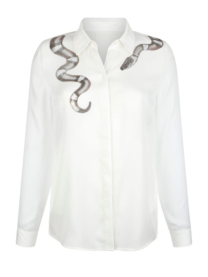 Bluse mit Schlangendruck um den Kragen