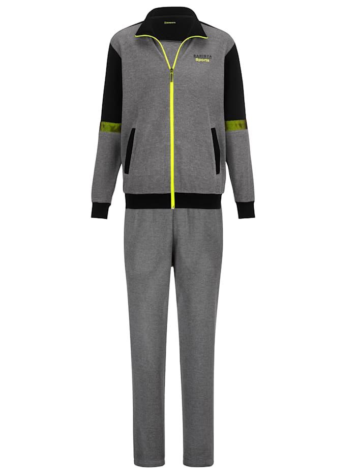 BABISTA Joggingpak van fijn structuurmateriaal, Grijs/Zwart