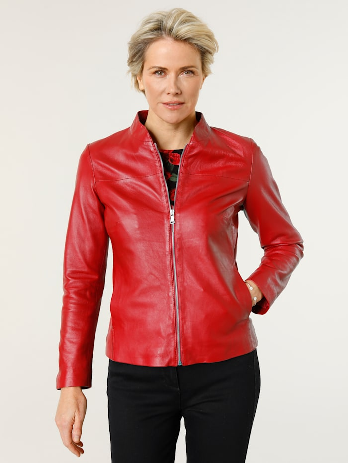 MONA Kožená bunda z jahňacej kože, Červená