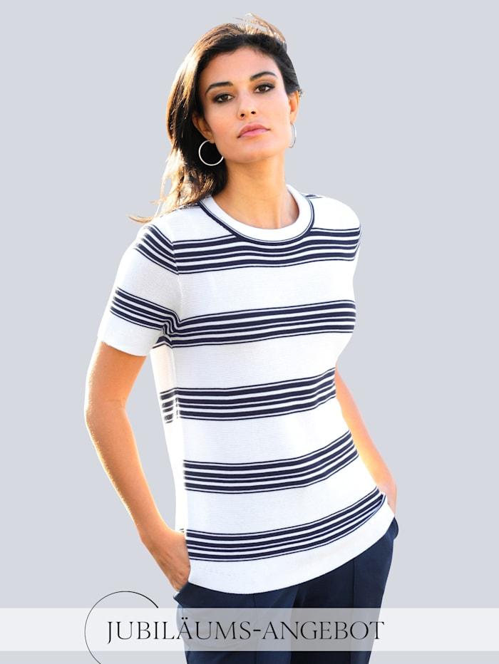 Alba Moda Pullover in schönem Strukturstrick, Off-white/Marineblau