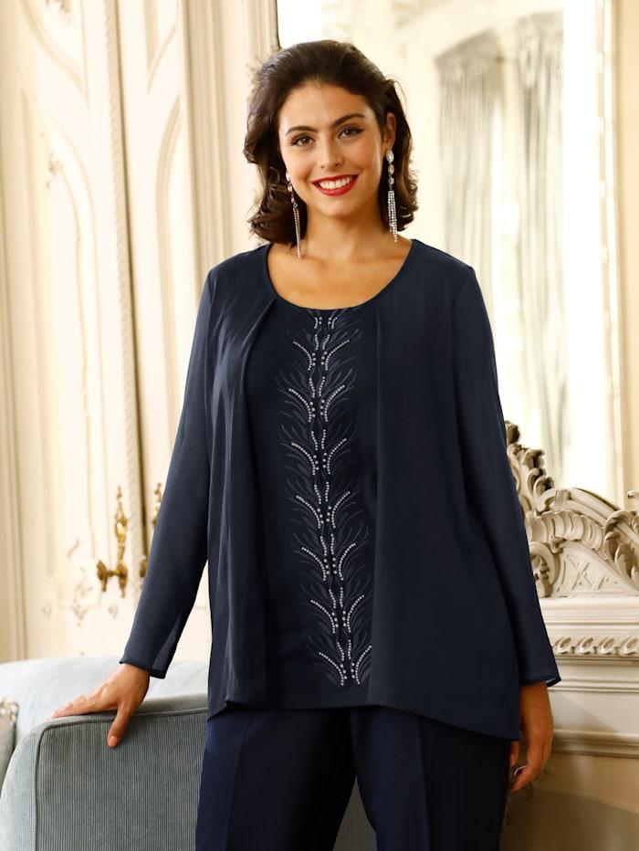 m. collection 2-in-1 Shirt durch Chiffonjacke und integriertes Top, Marineblau