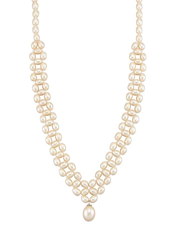 Diemer Perle Süßwasser-Zuchtperlen-Collier, Weiß