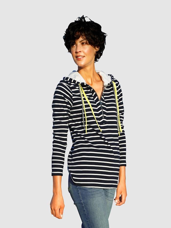 Dress In Sweatshirt met strepen, Marine/Wit