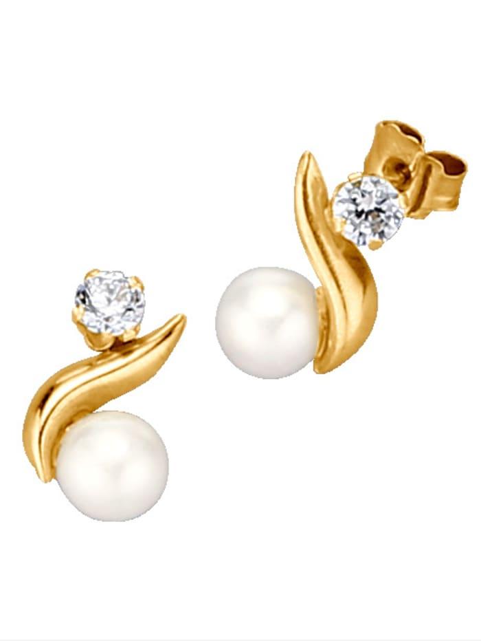 Boucles d'oreilles à perles de culture d'eau douce, Blanc