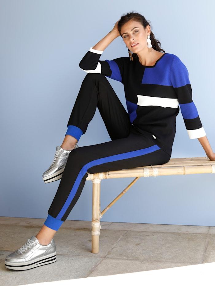AMY VERMONT Sweat kalhoty s galonovými pruhy, Černá/Královská
