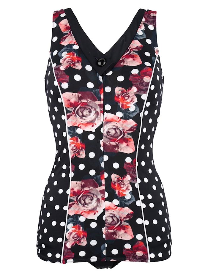 Maritim Badeanzug in figurfreundlicher Schößchenform, schwarz/rot/weiß