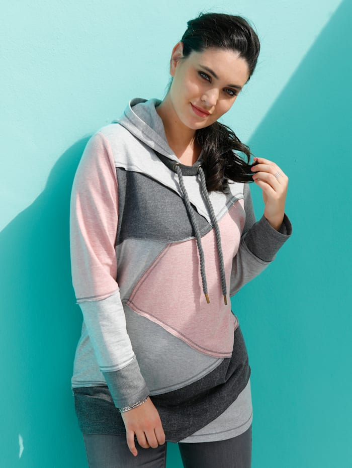 MIAMODA Sweatshirt im Patchmuster, Grau/Rosé