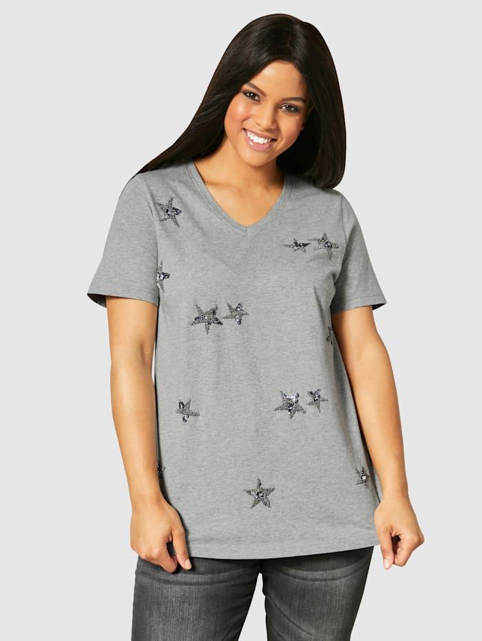 Angel of Style Shirt met kraaltjesapplicatie, Lichtgrijs