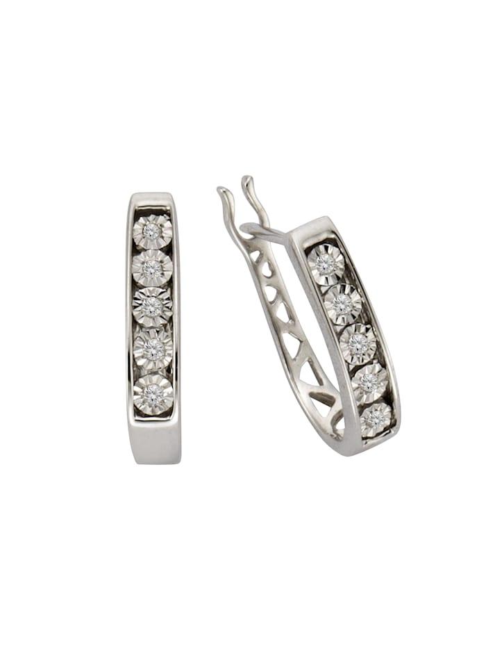 Celesta Creolen 925/- Sterling Silber Diamant weiß Diamant 1,3cm Glänzend 0,045 925/- Sterling Silber, Silbergrau