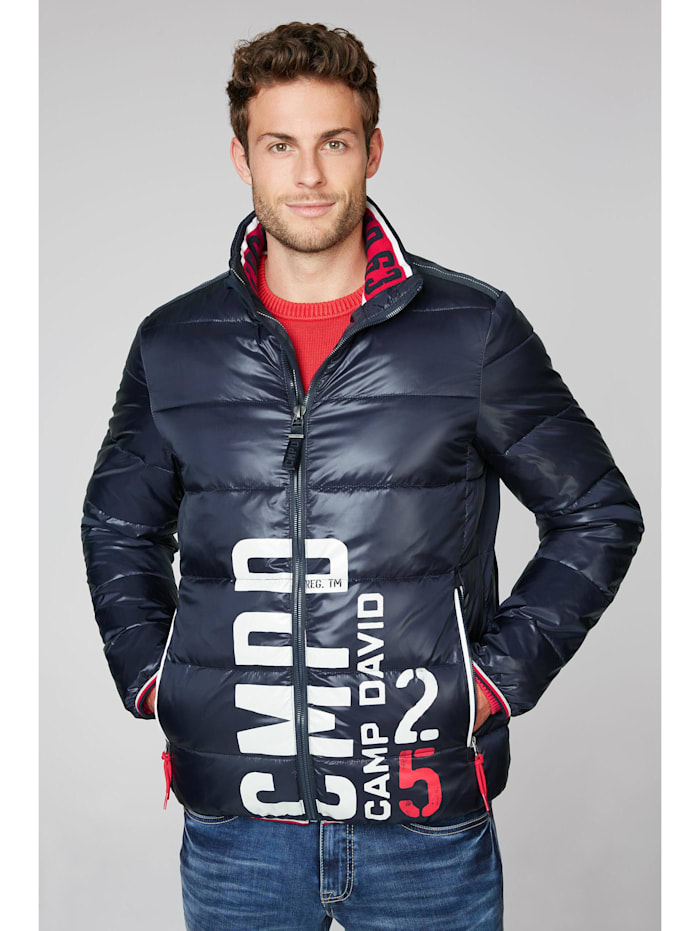 Camp David Steppjacke mit Logo Print, blue navy