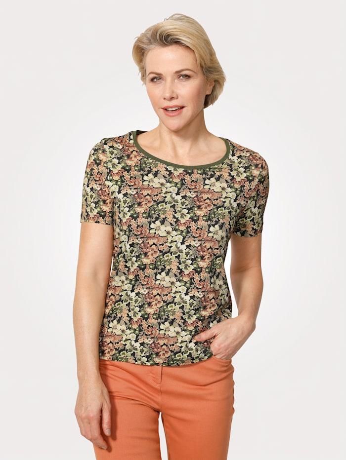 MONA Shirt met bloemenprint, Olijf/Hazelnoot/Zwart